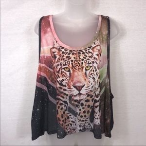 FOREVER 21 Leopard Oversized Cropped Tank Small